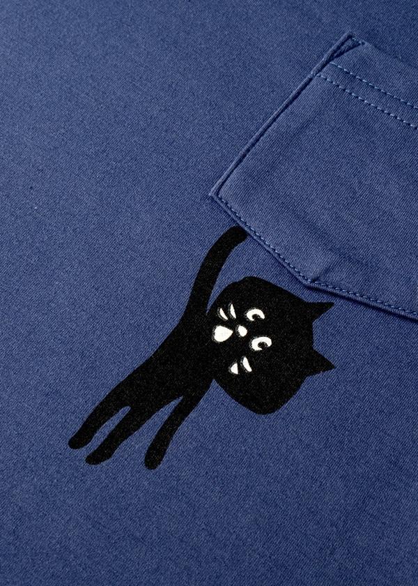 にゃー / キッズ ぶらさがりにゃーポケT / キッズTシャツ