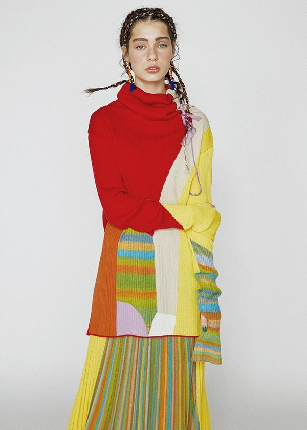 TSUMORI CHISATO / S カスリカラーブロック / スカート