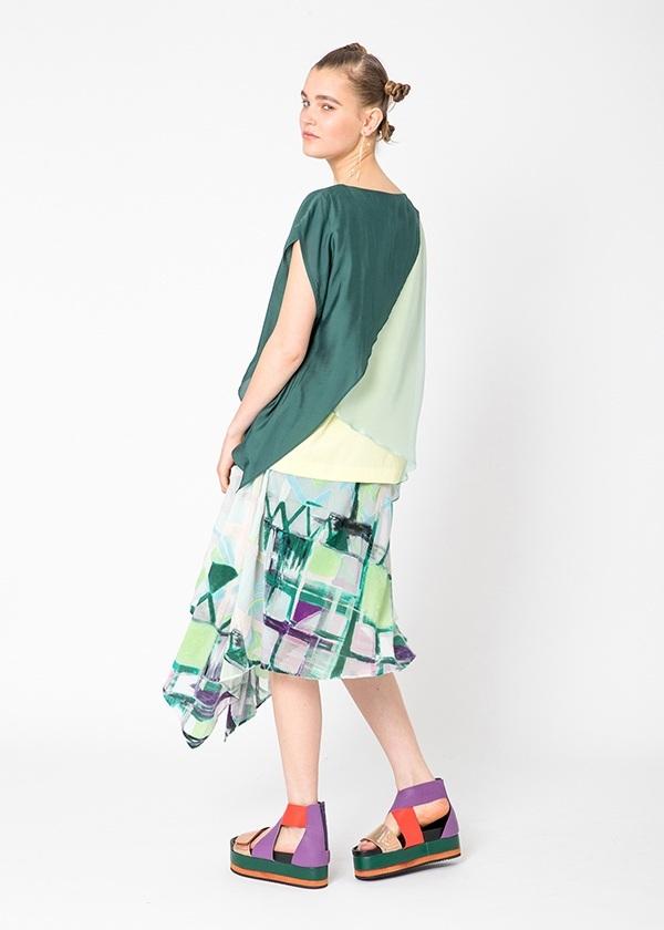 TSUMORI CHISATO / S 手描きチェック / スカート