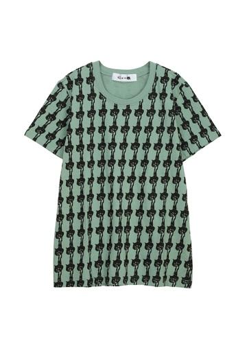 にゃー / S 総柄ぶらさがりにゃーT / Tシャツ