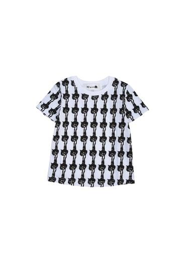 にゃー / S キッズ 総柄ぶらさがりにゃーT / Tシャツ