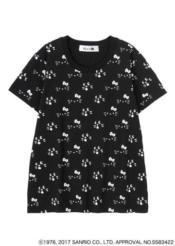 にゃー / メンズ 総柄アップにゃー×HELLO KITTY T / Tシャツ