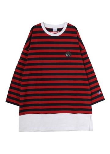 にゃー / にゃーとチャンピオンのボーダーT / Tシャツ