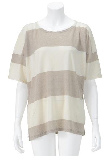 【SALE】Plantation L-line / S ビックリネンボーダー / Tシャツ beige(03)