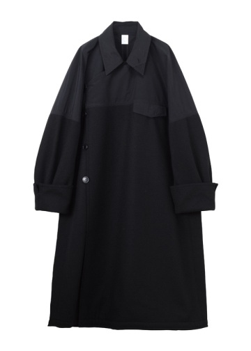S Melton&Polyester two tone coat