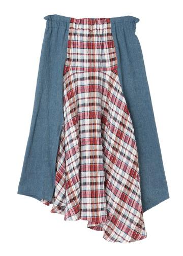 TSUMORI CHISATO / 綿麻サッカーチェック / スカート