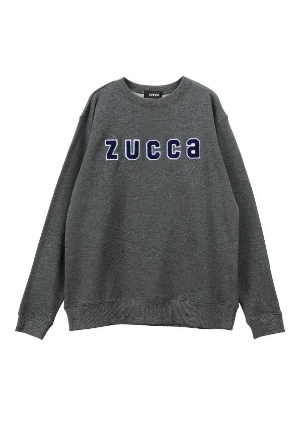 ZUCCa / メンズ ワッペンロゴ裏毛 / トレーナー チャコールグレー