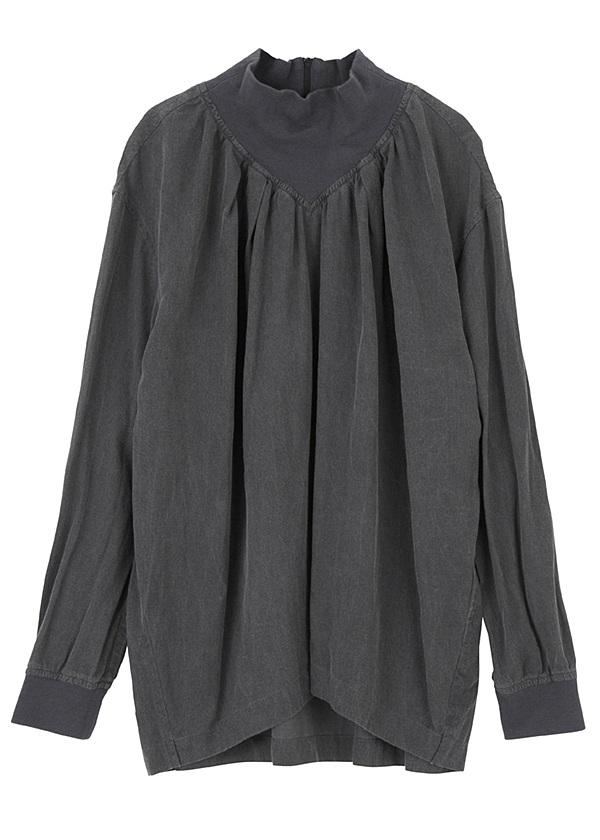 【SALE】メルシーボークー、 / S B:リブラウス / シャツ 黒