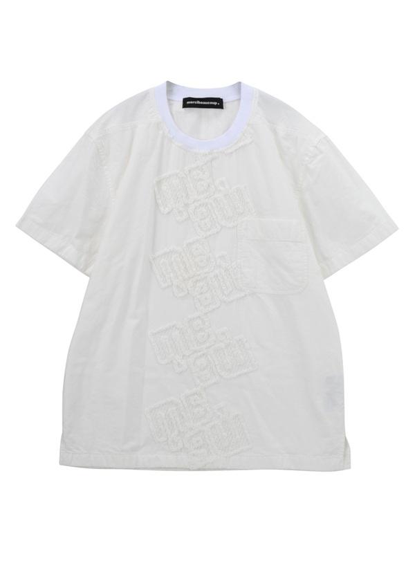 【SALE】メルシーボークー、 / S B:ロゴレース / ノーカラーシャツ 白
