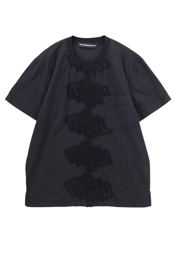 【SALE】メルシーボークー、 / S B:ロゴレース / ノーカラーシャツ 黒