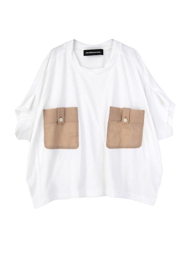 【SALE】メルシーボークー、 / S B:ポケティー / Tシャツ 白