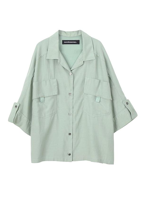 【SALE】メルシーボークー、 / S シルクフウ / シャツ ライトグリーン