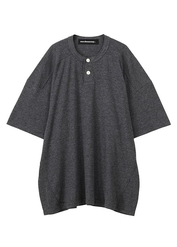 【SALE】メルシーボークー、 / S B:ワッフルソー / Tシャツ チャコールグレー