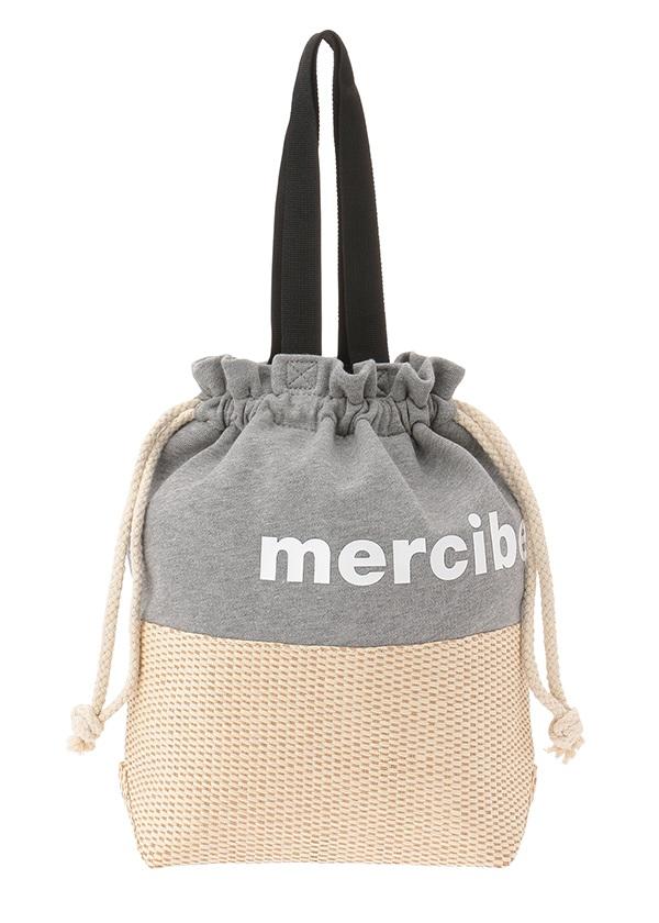 メルシーボークー、 / かご巾着 / バッグ グレー