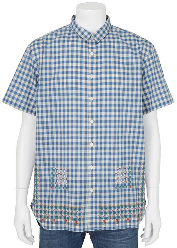 【SALE】ネ・ネット / PD メンズ エプロンギンガム / シャツ ブルー