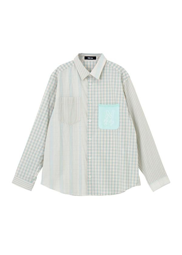 ニットポッケシャツ ライトグリーン