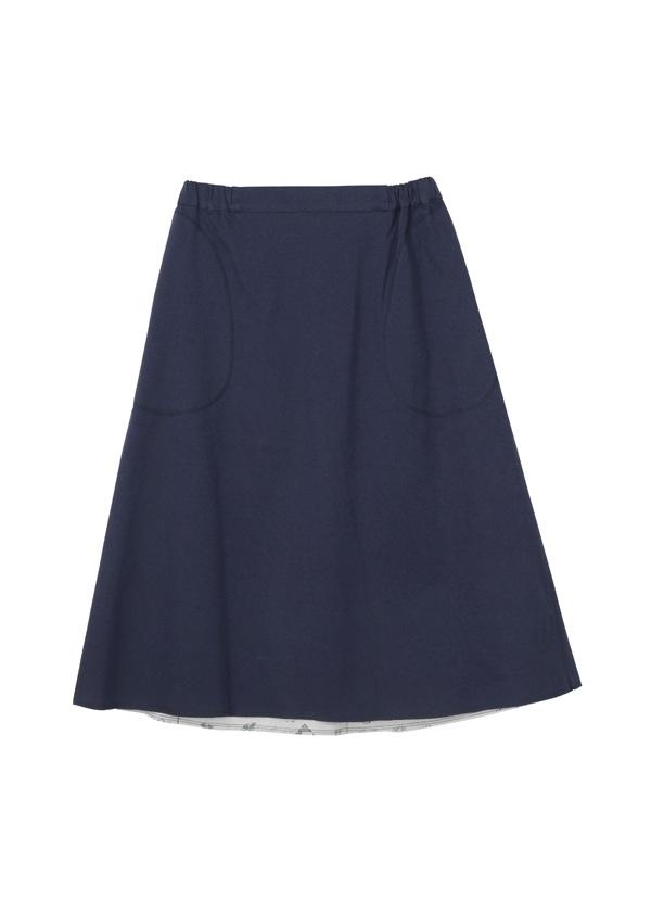 【SALE】ネ・ネット / S 刺繍ジャーナルボンディング / スカート ネイビー