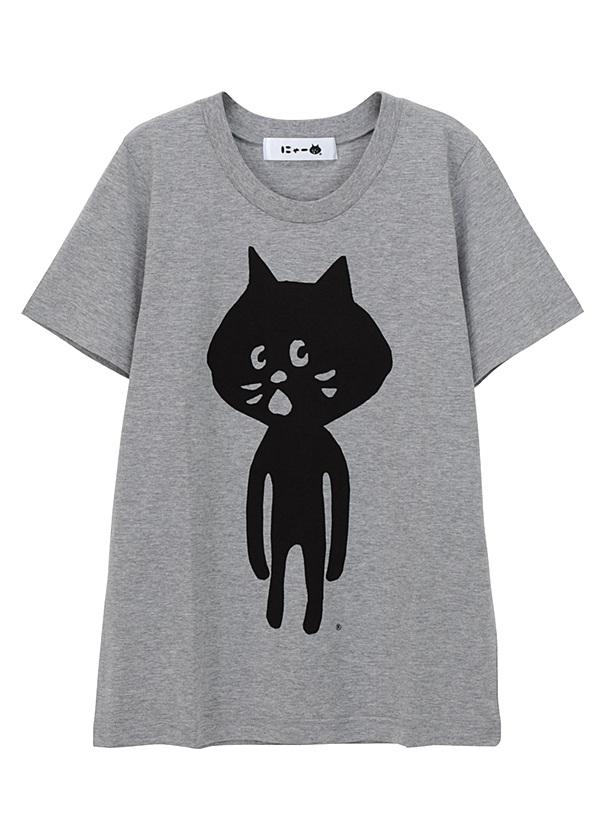 にゃー / 全身にゃー T / Tシャツ グレー