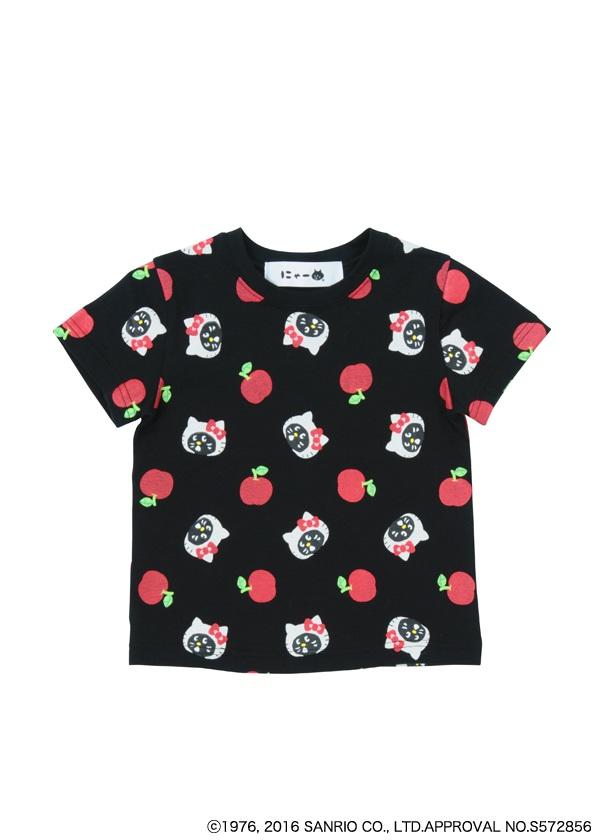にゃー / ☆ GF キッズ にゃー×HELLO KITTY総柄 T / Tシャツ 黒