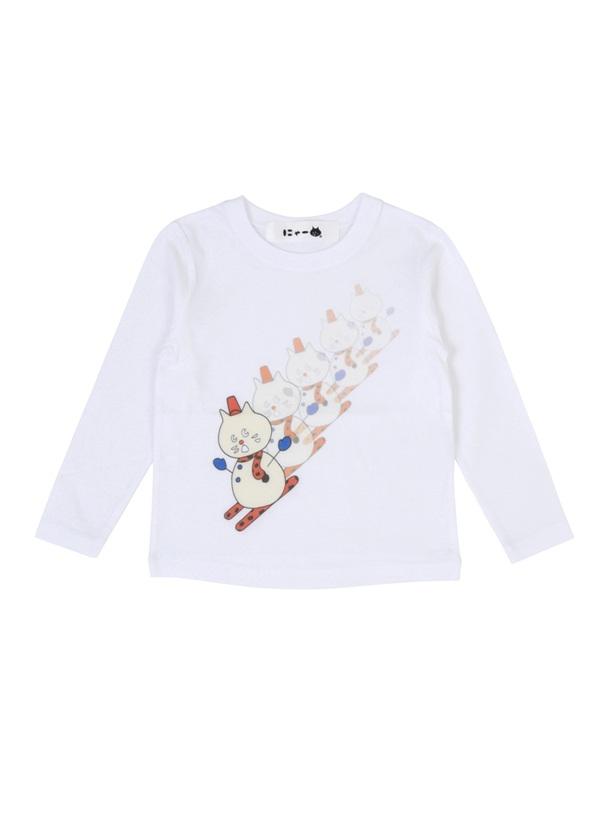 にゃー / ☆ キッズ ゆきだるまにゃー T / Tシャツ 白