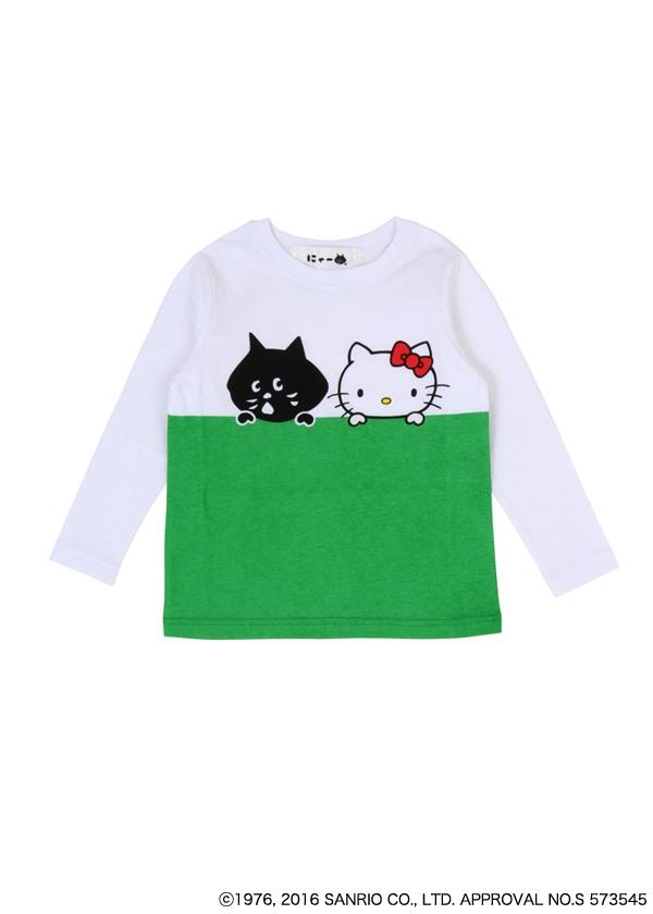 にゃー / ☆ キッズ にゃーとHELLO KITTY T / Tシャツ 白