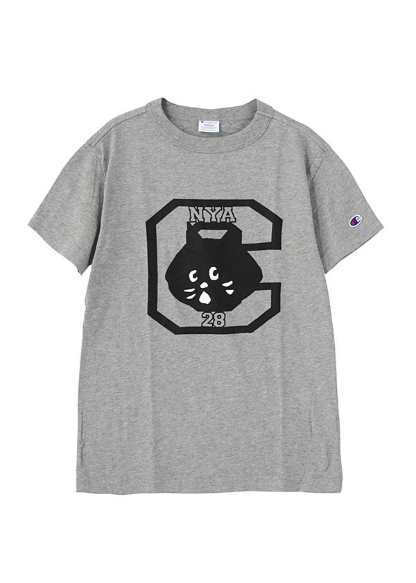 【別注】にゃーとチャンピオンのTシャツ グレー