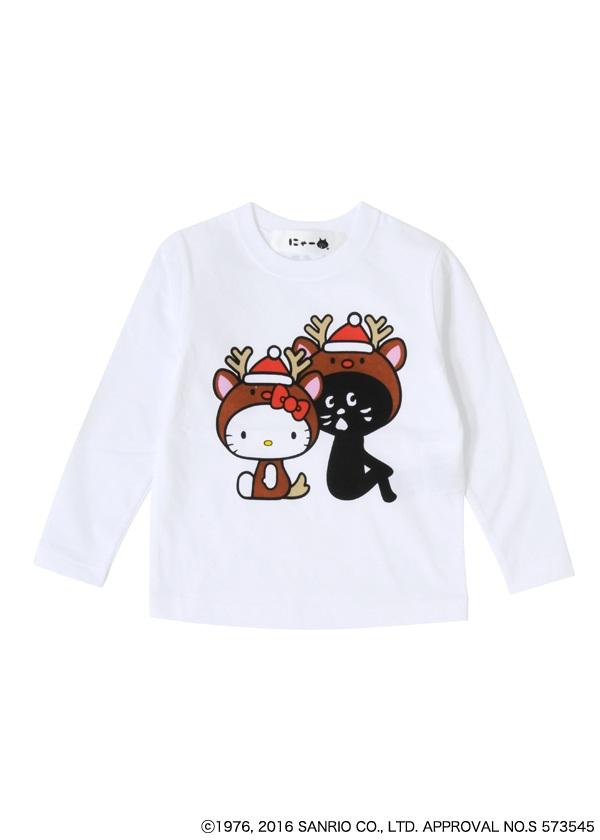 にゃー / ☆ キッズ (L)クリスマスにゃーとHELLO KITTY T / Tシャツ 白