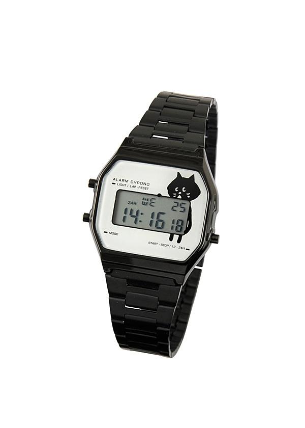 にゃーデジウォッチ 黒【ジュエリー・腕時計 レディース腕時計】【ネ・ネット にゃー】/NY73AW17126-