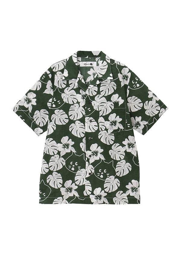 【SALE】にゃー / S にゃーアロハシャツ / シャツ グリーン