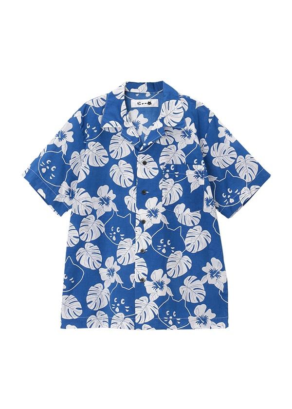 【SALE】にゃー / S にゃーアロハシャツ / シャツ ブルー