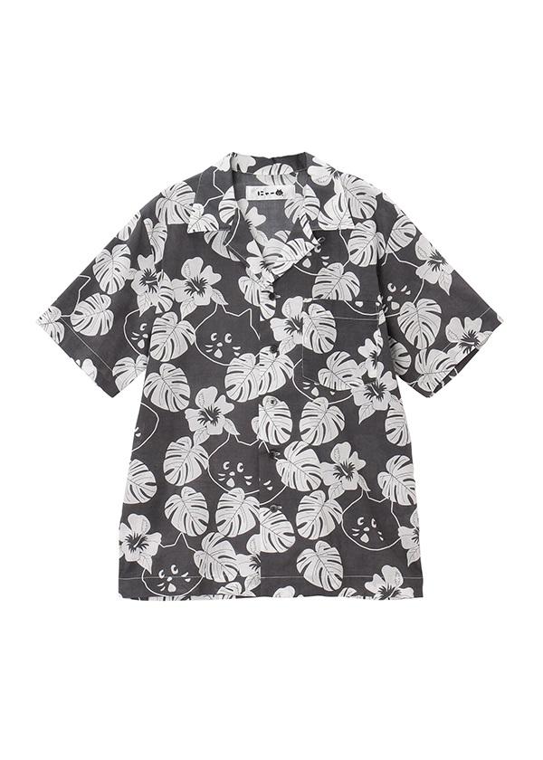 【SALE】にゃー / S にゃーアロハシャツ / シャツ チャコールグレー