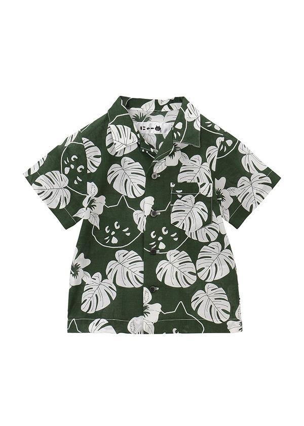 【SALE】にゃー / S キッズ にゃーアロハシャツ / シャツ グリーン