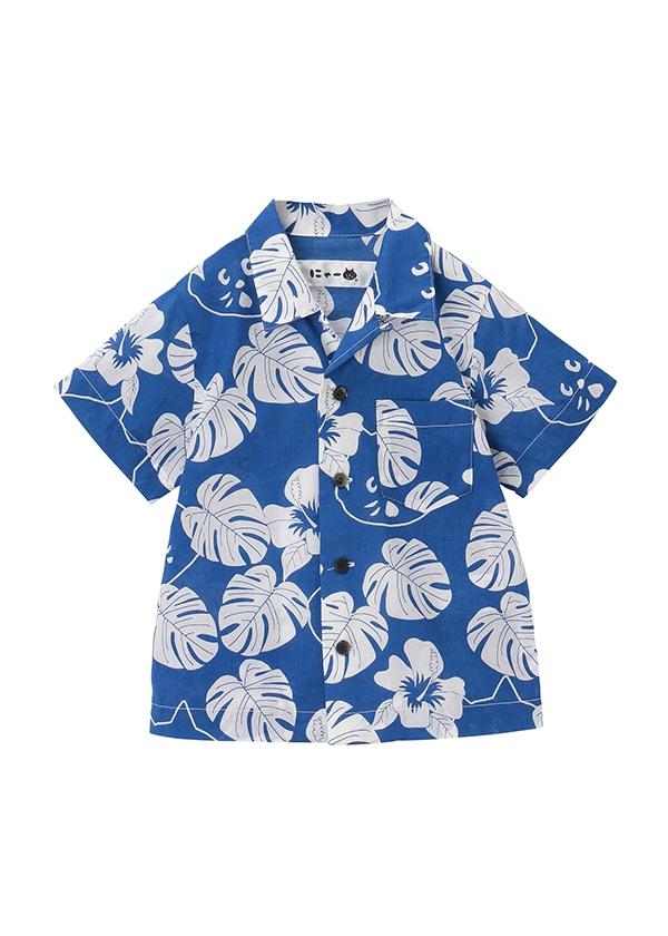 【SALE】にゃー / S キッズ にゃーアロハシャツ / シャツ ブルー