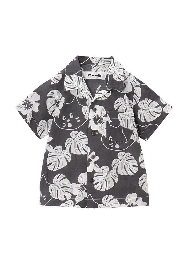 【SALE】にゃー / S キッズ にゃーアロハシャツ / シャツ チャコールグレー