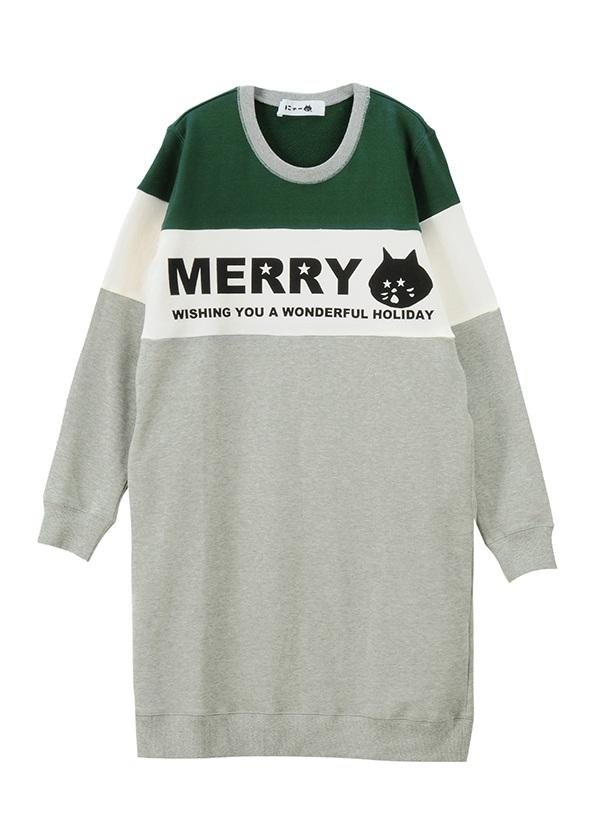 MERRYにゃー裏毛 / ワンピース グレー