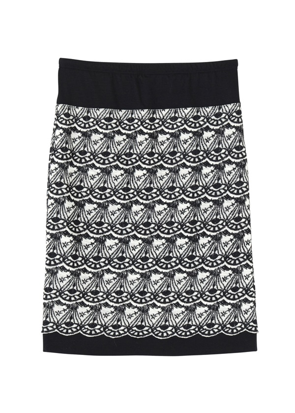 TSUMORI CHISATO / GF ダイヤスカラップ刺繍T / スカート 黒