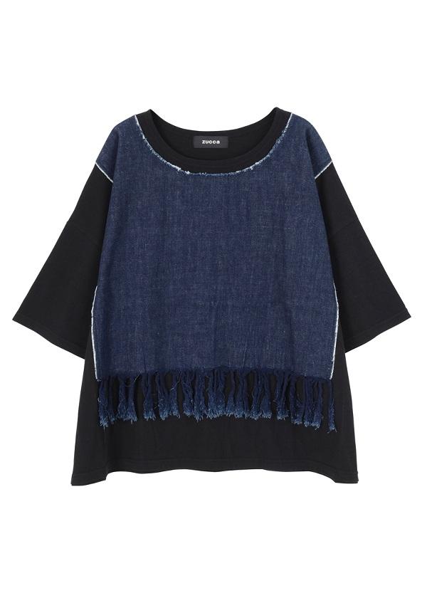 ZUCCa / フリンジデニムジャージィー / Tシャツ 黒