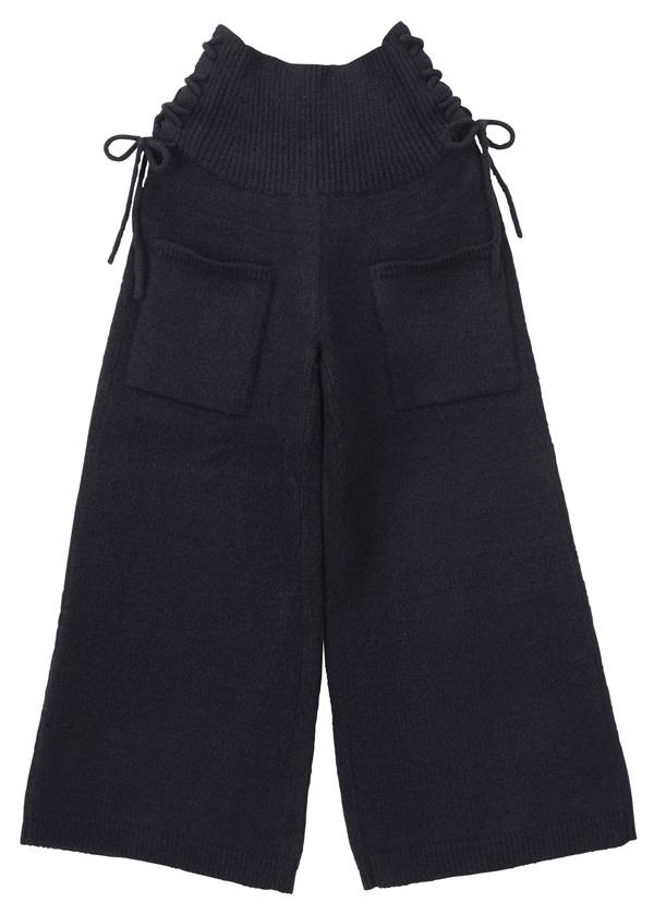 ストレッチバルキーニット / パンツ 黒