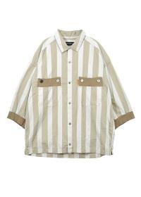 メルシーボークー、 / メンズ しぶ色ストライプ / シャツ