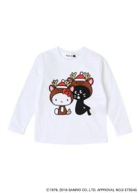 にゃー / S キッズ (L)クリスマスにゃーとHELLO KITTY T / Tシャツ