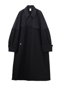 Melton&Polyester two tone coat